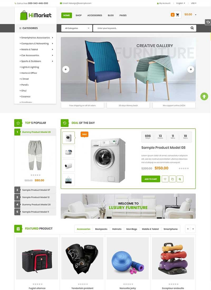 Mẫu Website bán hàng công nghệ Himarket