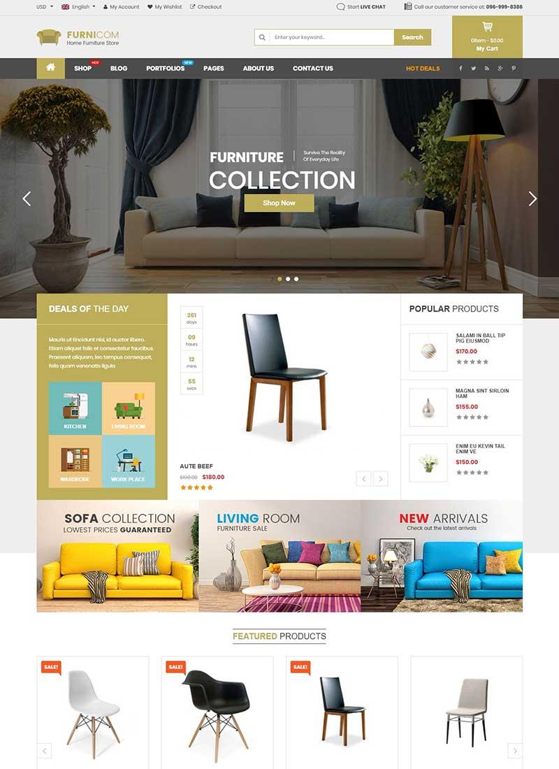 Mẫu Website bán hàng nội thất Funicom