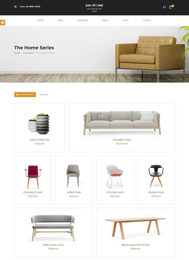 Mẫu Website bán hàng nội thất ShopOne