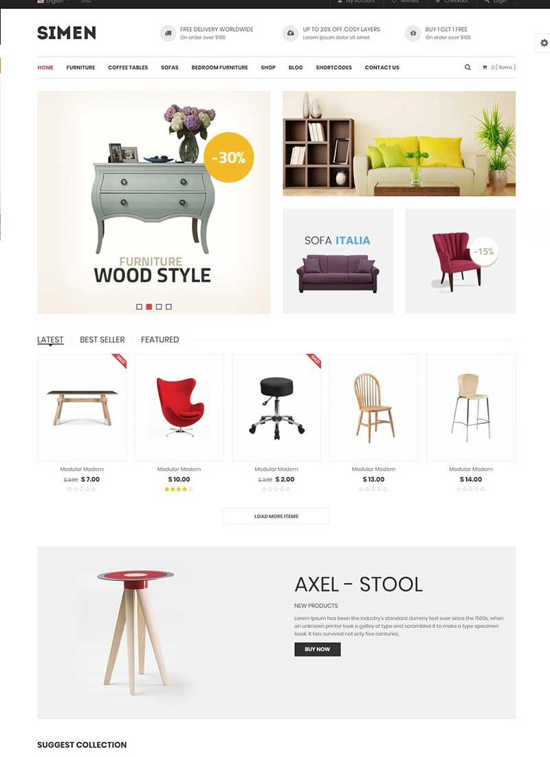 Mẫu Website bán hàng nội thất Simen