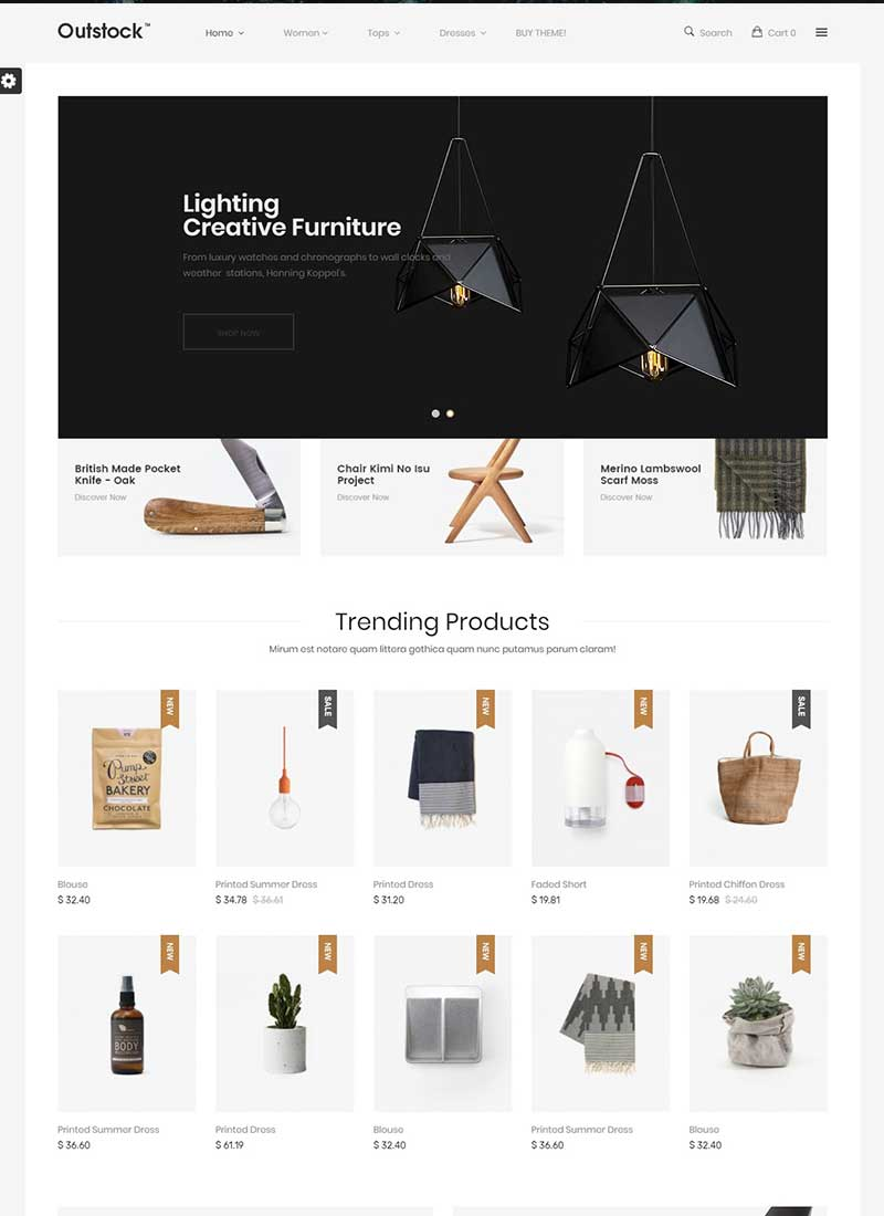 Mẫu Website bán hàng nội thất OutStock