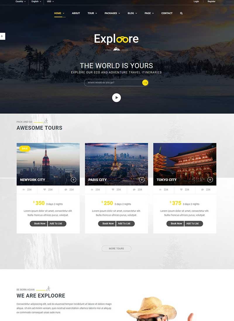 Mẫu Website du lịch Exploore