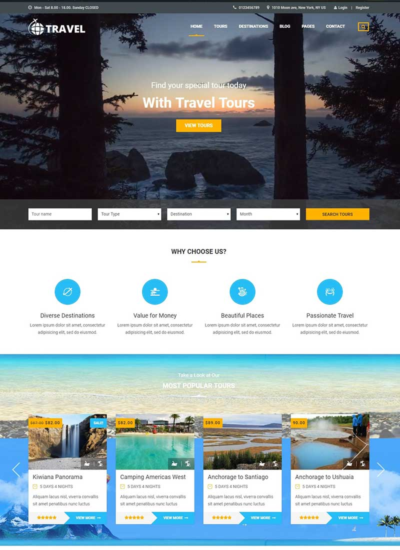 Mẫu Website du lịch Travel