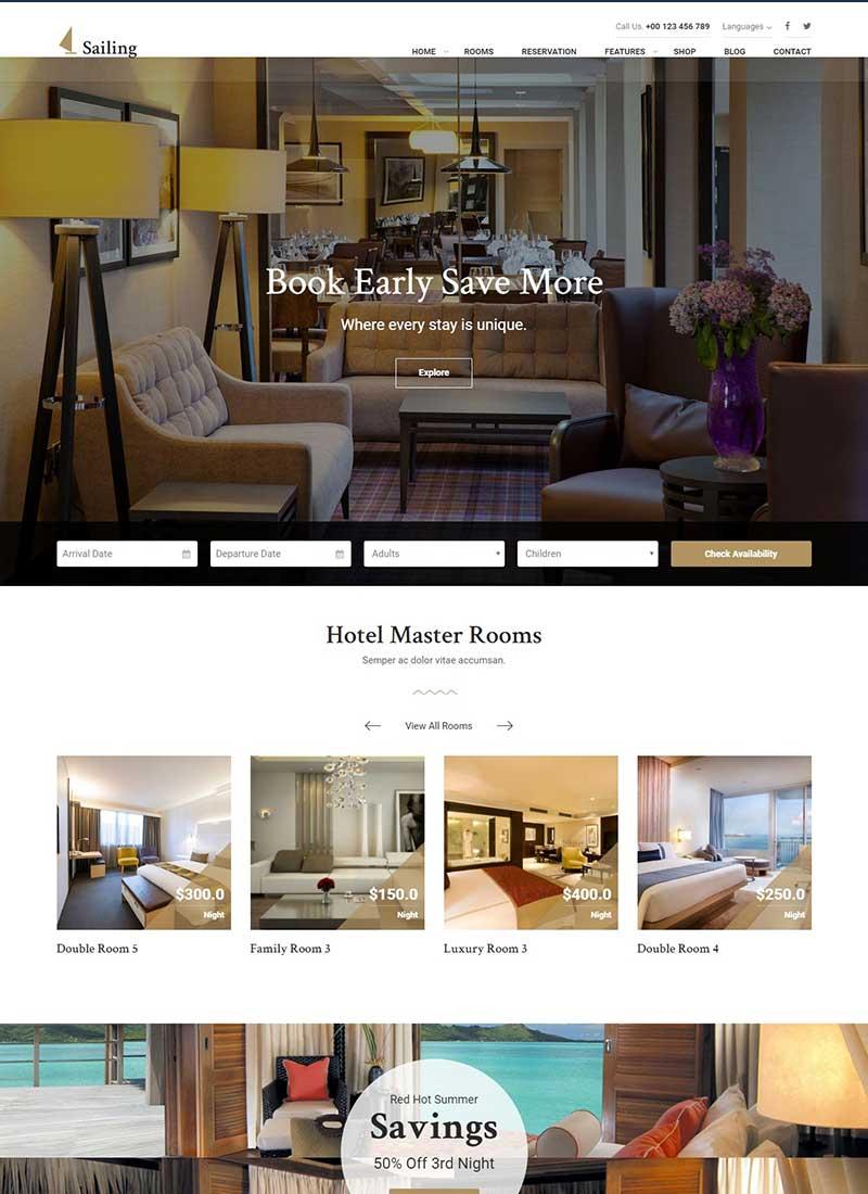 Mẫu Website khách sạn Sailing