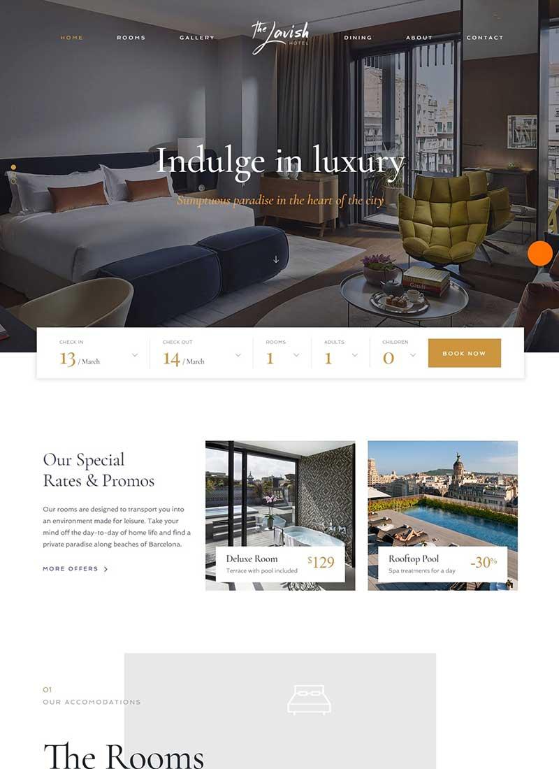 Mẫu Website khách sạn The Lavish