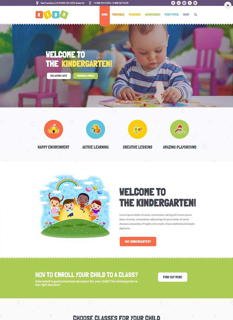 Mẫu Website Mầm Non Kids