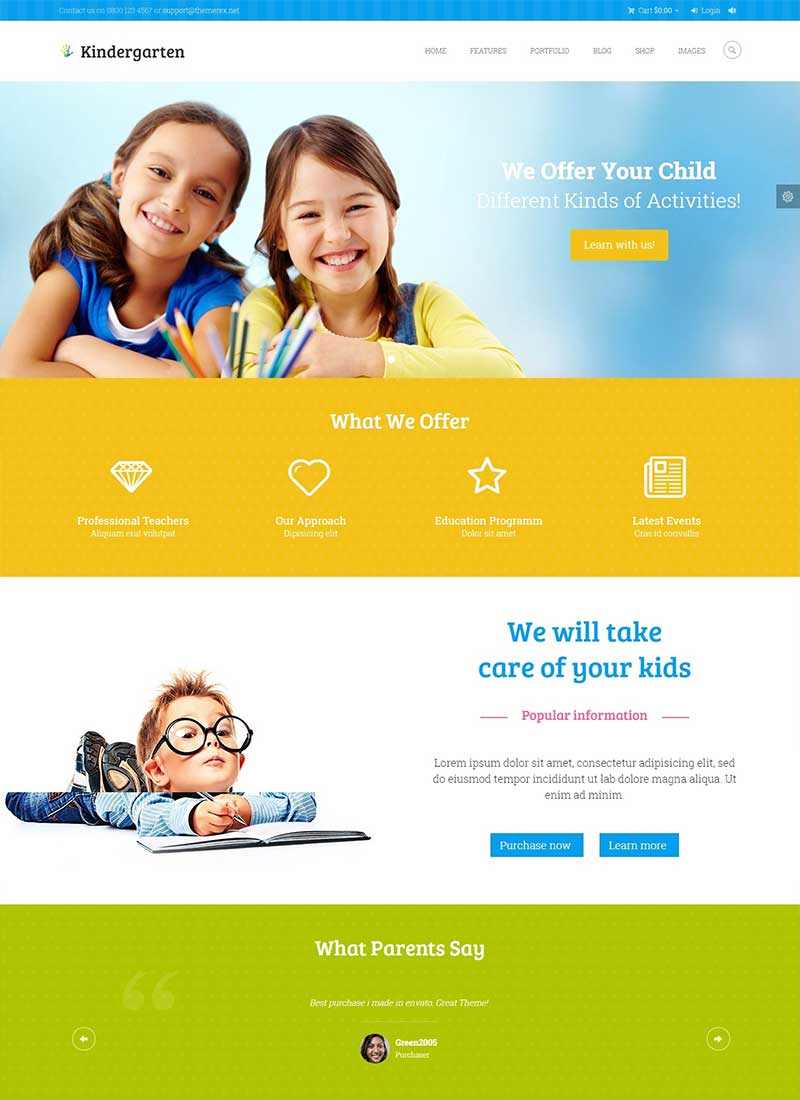 Mẫu Website Mầm Non Kinder