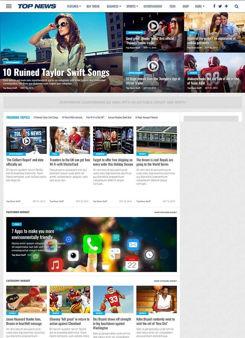 Mẫu Website tin tức Top News