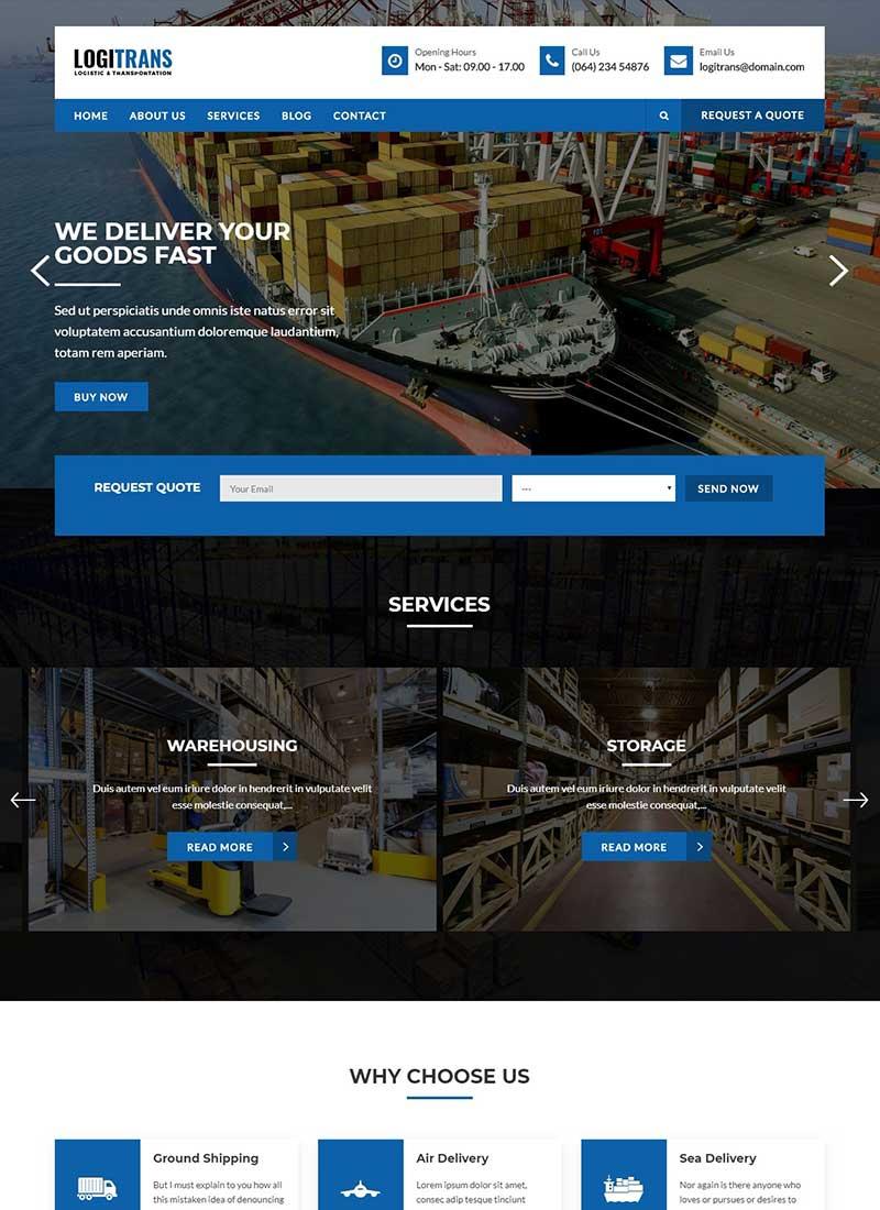 Mẫu Website Vận tải LogiTrans