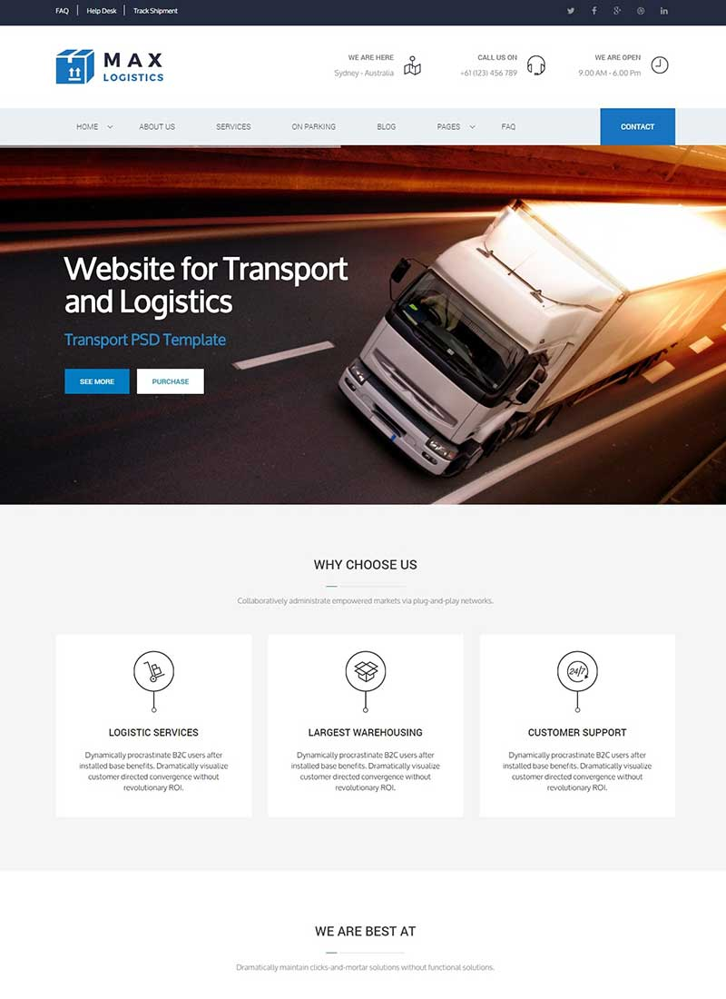 Mẫu Website vận tải Max Logistic