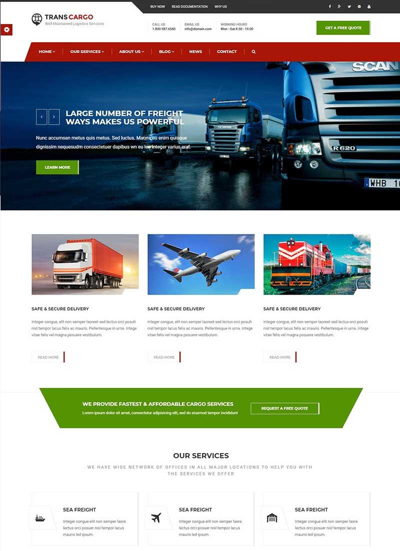 Mẫu Website vận tải Transcargo