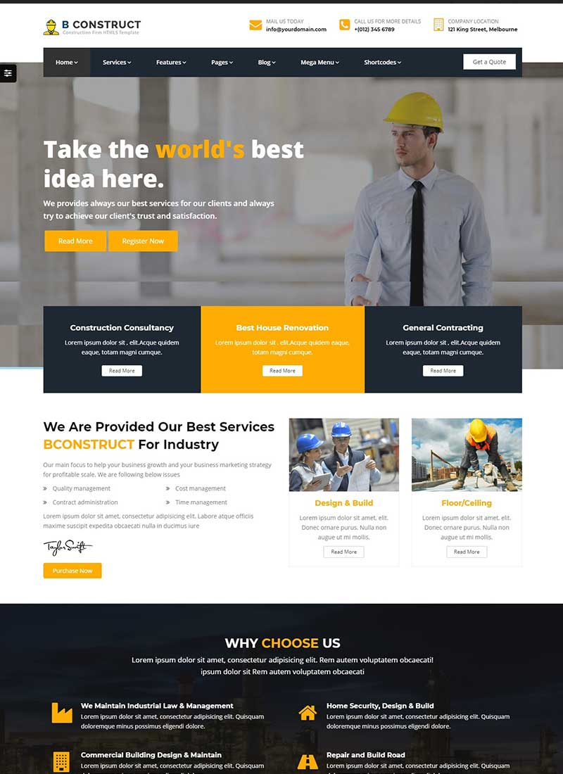 Mẫu Website Xây Dựng B Construct