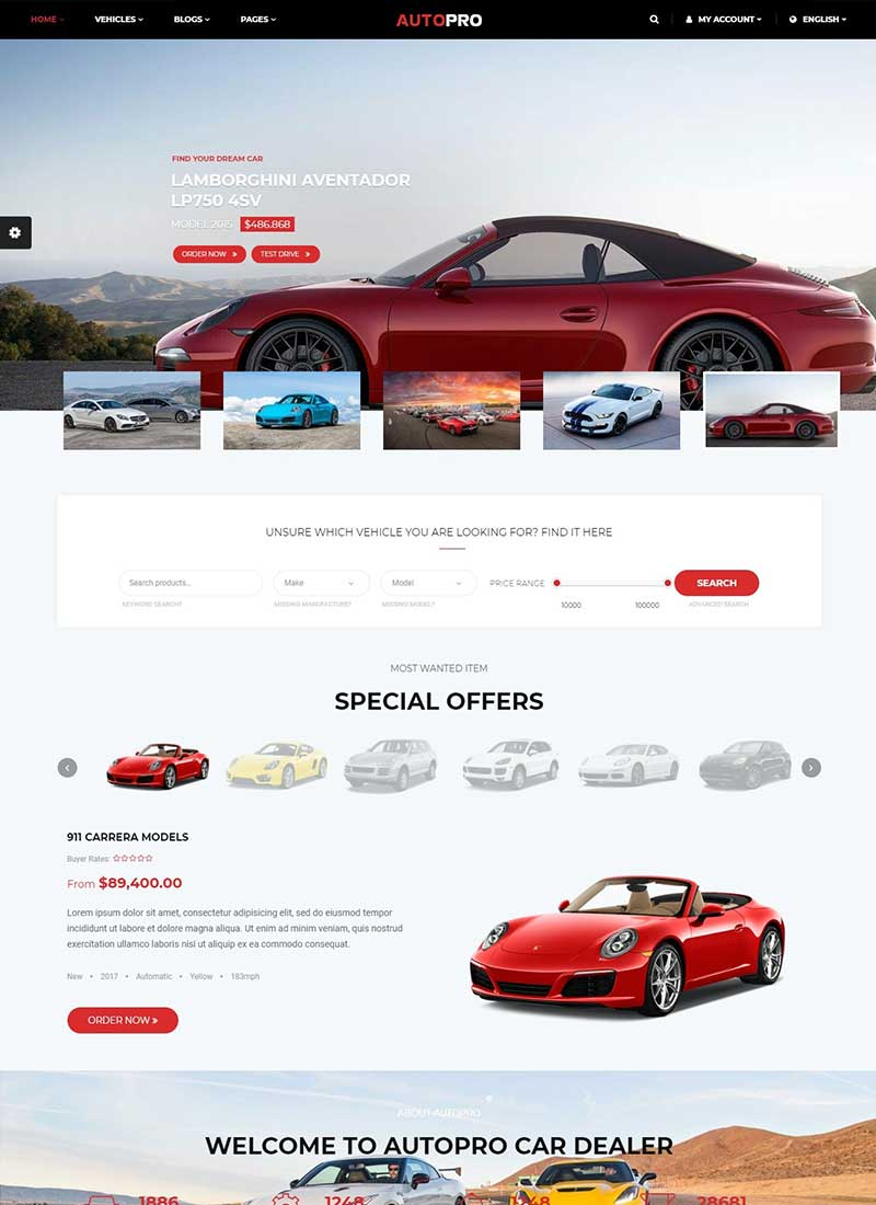 Mẫu Website Xe Hơi AutoPro