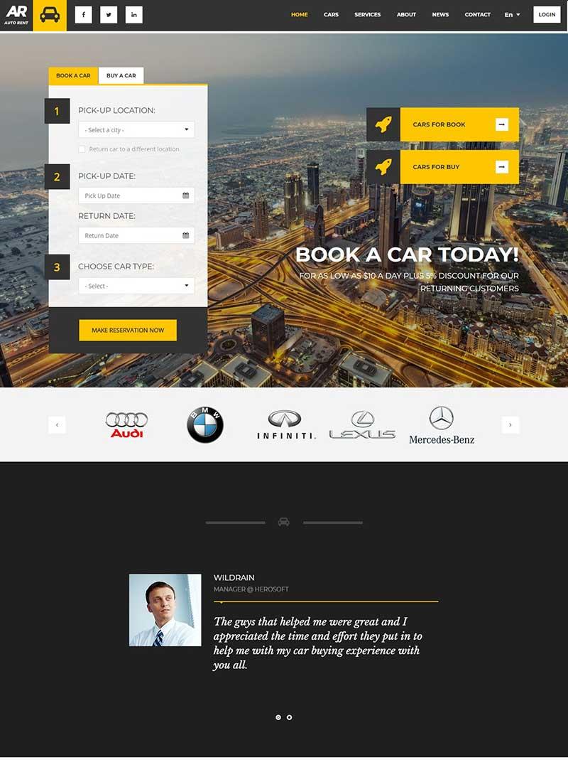 Mẫu Website Xe Hơi AutoRent
