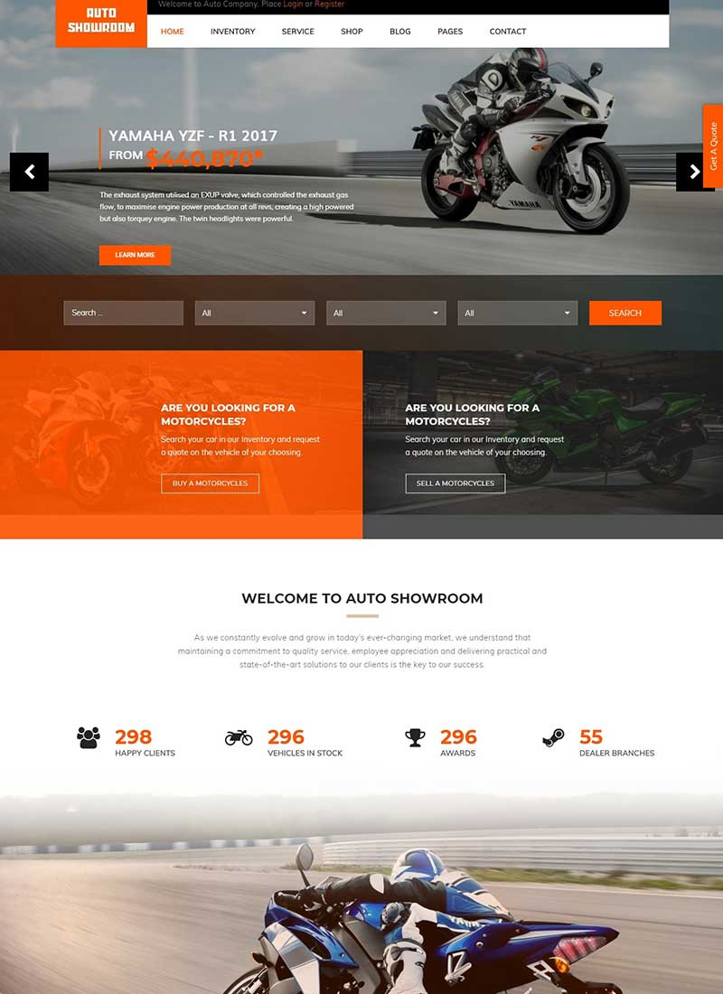 Mẫu Website Xe máy Auto Showroom