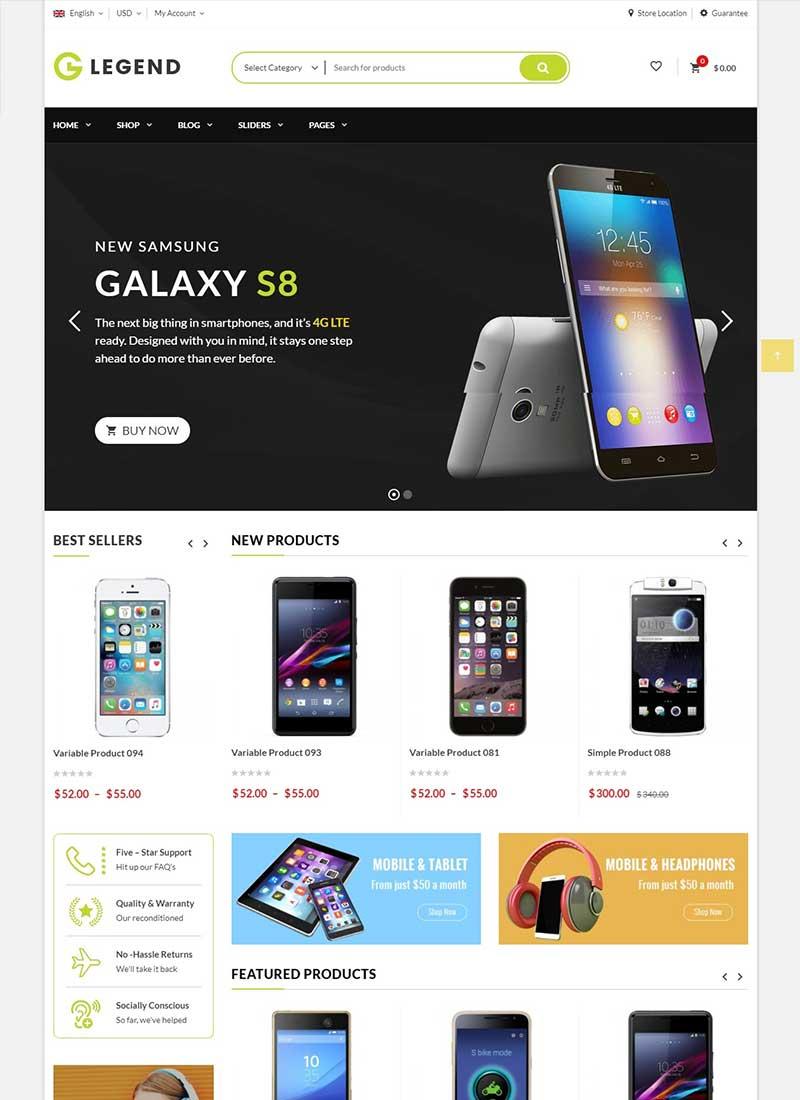 Mẫu Website bán hàng công nghệ VGLegend