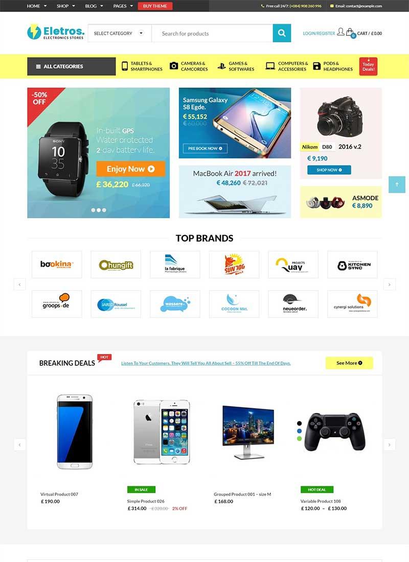 Mẫu Website bán hàng công nghệ VGEletros