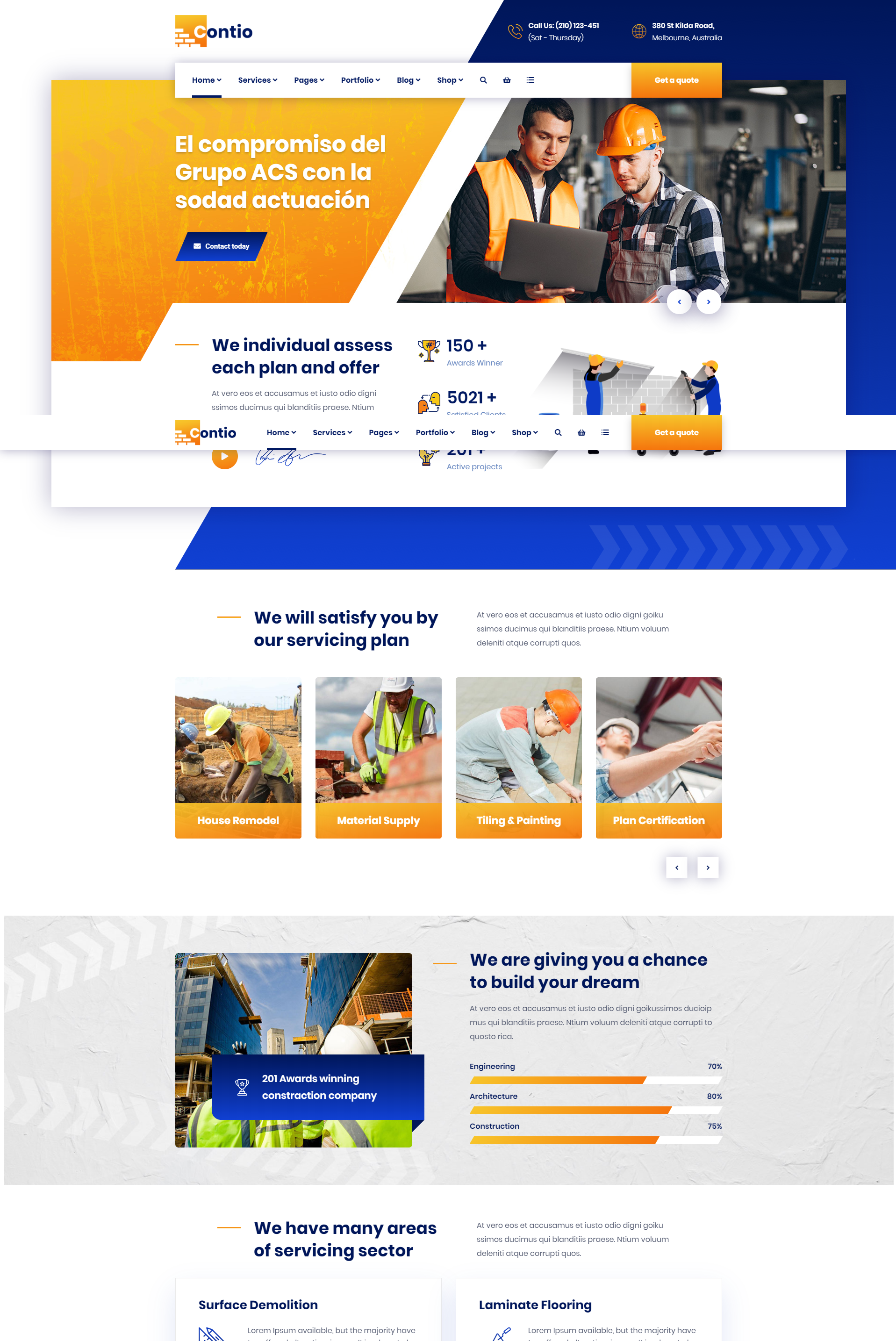 Mẫu Website xây dựng Contio