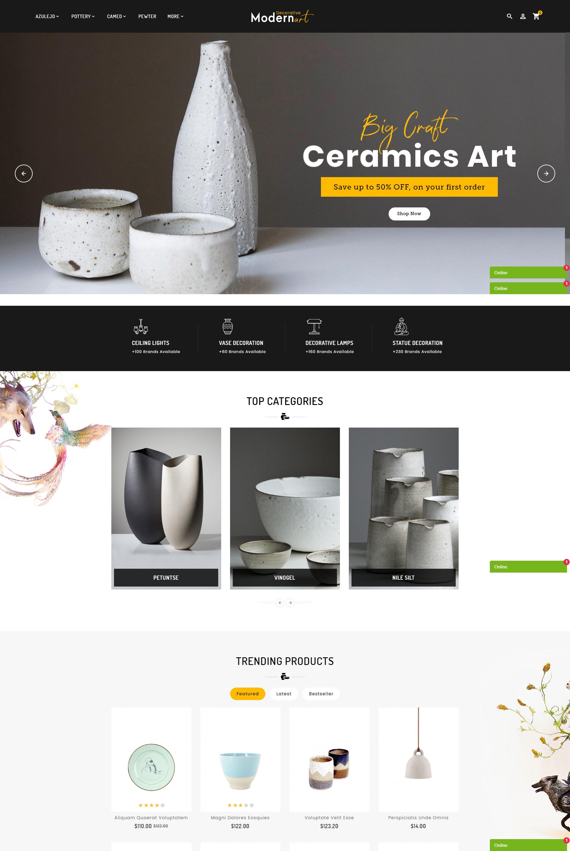 Mẫu Website bán hàng Gốm sứ Modern Art