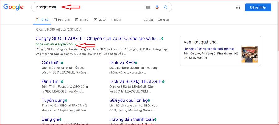 Website đã được index trên Google
