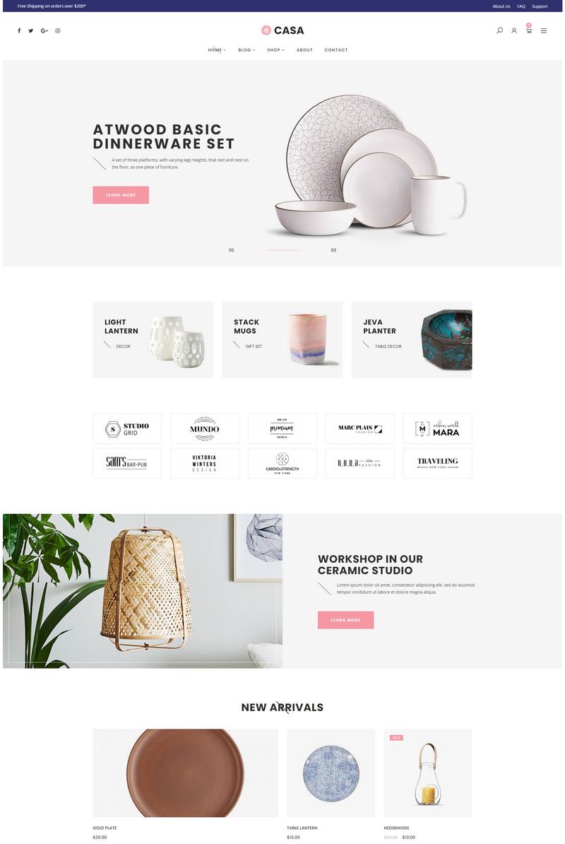 Mẫu Website bán hàng Gốm sứ Casa