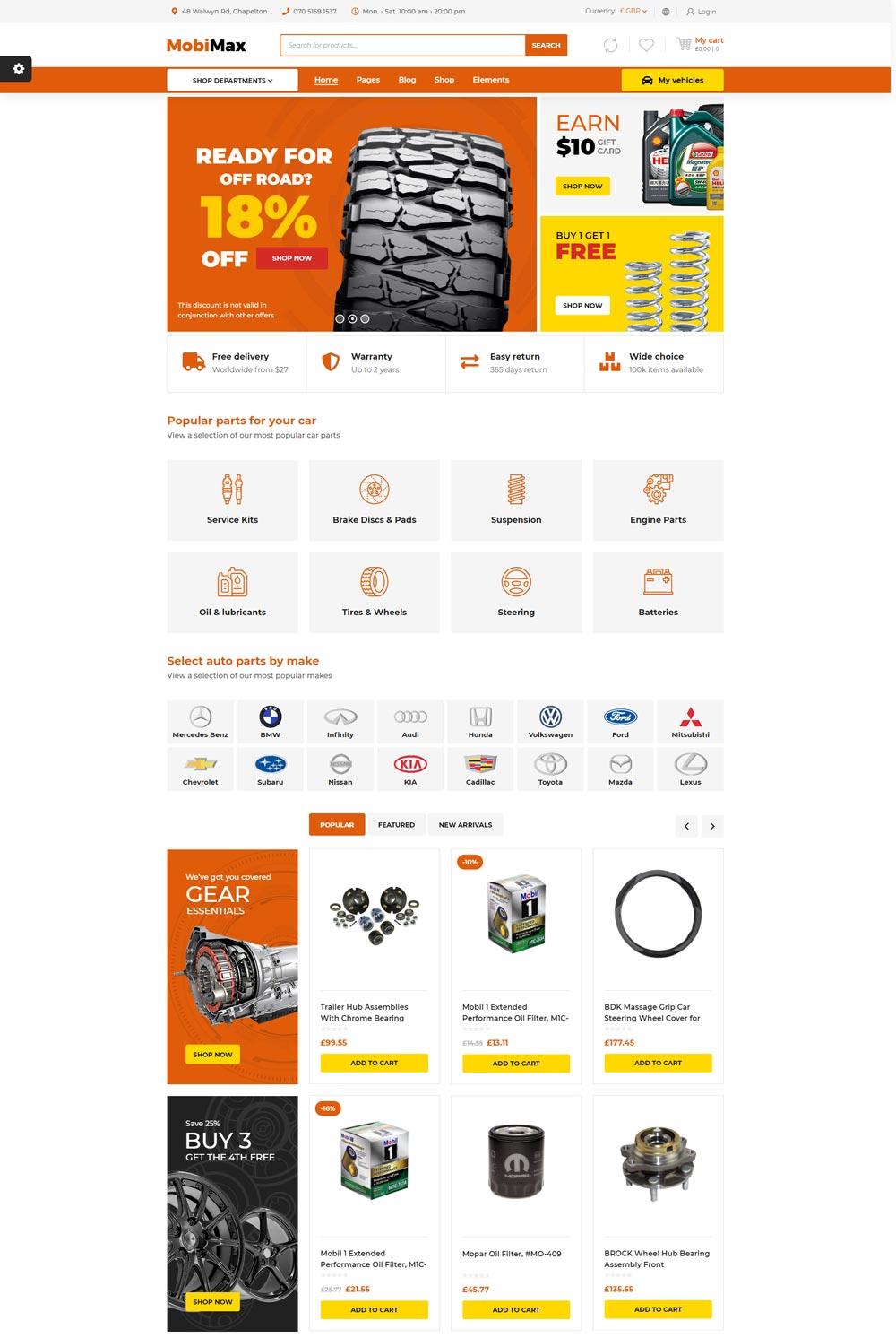 Mẫu Website bán hàng phụ tùng xe Mobimax