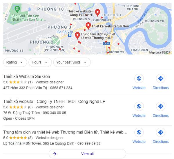 3 vị trí đầu cho dịch vụ seo Google Map