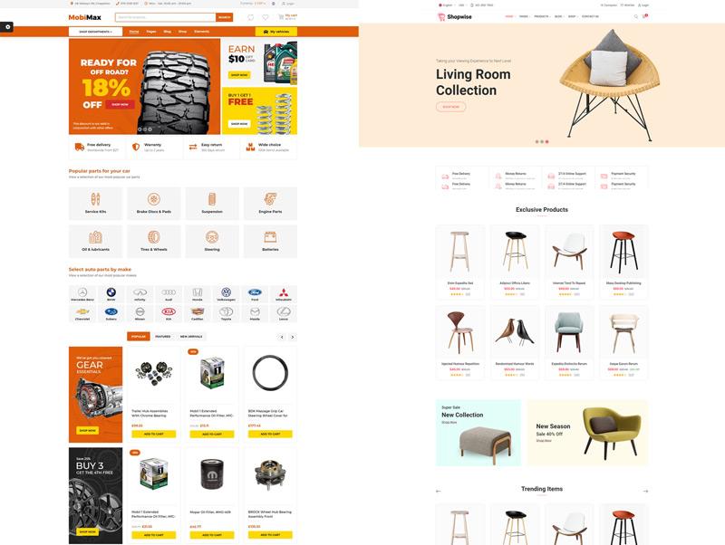 Một số giao diện thiết kế website bán hàng thông dụng